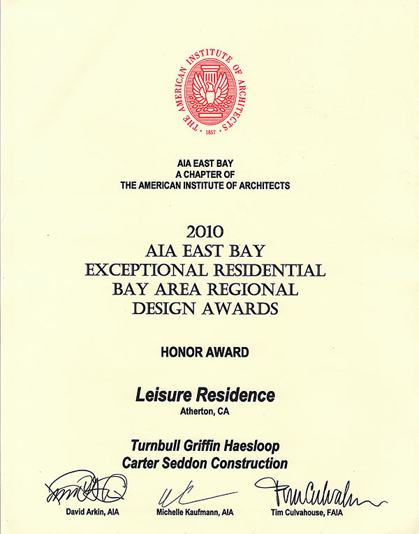 2010 AIA East Bay Exceptional Residential Bay Area Regional Design Awards Honor Award